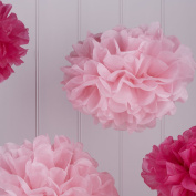 Sorive® Baby & Hot Pink Tissue Paper Pom Poms 5 Pack Wedding, Christmas & Party Decorations - Vintage Lace