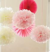 Sorive® Pack of 6pcs Ivory Pink Pom Pom Flower Tissue Paper Pompom Balls Paper Craft Paper Flower Hanging Pom Wedding Party Favours Outdoor Decoration Wedding Nursery Decorations Bridal Shower Party Room Decor