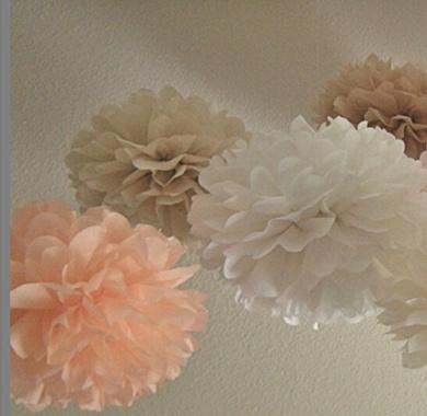 Sorive® 12PCS White Peach Tan Tissue Paper Pom Poms Pompoms Flower Balls Wedding Birthday Party Shower Centrepiece Home Decoration