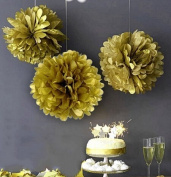 Sorive® 5 PCS 25cm Gold Colour Tissue Paper Flower Tissue Ball Pom Pom Hanging Decoration for Wedding Birthday Party