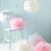 Sorive® Pack of 9 White Pink & Ivory Tissue Paper Pom Poms