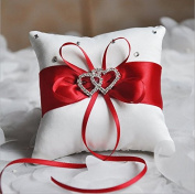 Hosaire Ring Pillow Bow Diamond Double Heart Shaped Wedding Decoration