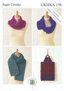 Super Chunky Knitting Pattern for Easy Knit Ladies Womens Scarf Bag & Snoods