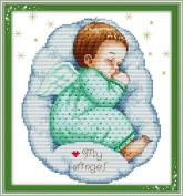 YEESAM ART® New Cross Stitch Kits Advanced Patterns for Beginners Kids Adults - Asleep Angel Baby Boy 11 CT Stamped 33×35 cm - DIY Needlework Wedding Christmas Gifts