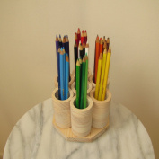 7 Cup Mini Rotating Coloured Pencil Storage Holder Organiser, Holds ~100 Pencils, Cosmetic Makeup or Paint Brushes