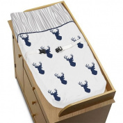 Sweet Jojo Designs Navy White and Grey Woodland Deer Boys Baby Changing Pad Cover