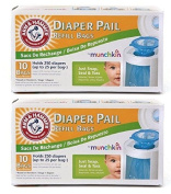Munchkin Arm & Hammer Nappy Pail Refill Bags 10-Count Pack of 2