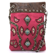 Justin West Floral Embroidery Tooled Laser Cut Rhinestone Studded Mini Turquoise Concho CrossBody Mini Handbag Phone Messenger Purse