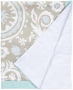 100% Cotton, Aqua & Khaki Crib Blanket