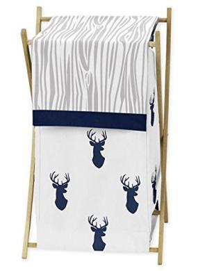 Sweet Jojo Designs Baby Children Kids Clothes Laundry Hamper for Navy Blue White and Grey Woodland Deer Bedding Set