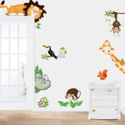 Baishitop Jungle Animal Kids Baby Nursery Wall Sticker Wall Decor Mural Decal