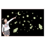 Baishitop Cosmic Star Spaceship Wall Stickers fluorescent Home Decals Decor