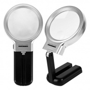 Vinmax LED Lighted Magnifier 3X with Folding Stand, Hobby & Craft Illuminated Magnifying Glass