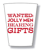 Christmas Party Frost Flex Cups 470ml Wanted Jolly Men Bearing Gifts