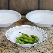 White With Silver 240ml Round Disposable Bowl - Premiere Collection