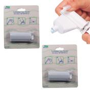 2 Plastic Rolling Toothpaste Tube Easy Squeezer Dispenser Holder Sucker Hanger !