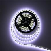 ALITOVE 16.4ft 5050 SMD Black PCB Cool White LED Flexible Strip Ribbon Light 5M 300 LEDs Waterproof IP65 DC 12V for Home Garden Commercial Area and Festival Decoration Lighting
