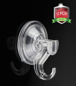 Quntis Bathroom Shower Hook 2 Pack Clear Wreath Hanger for Christmas String Lights Heavy Duty Suction Cup Hook for Kitchen Washroom Wall Window Towel Bath Robe Hook and Cloth Coat Holder