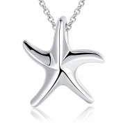 Ashley Jeweller 925 Sterling Silver Plain Starfish Sea Star Fish Beach Ocean Pendant Necklace
