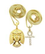 Egyptian Pharaoh Cleopatra, Ankh Cross Pendant 50cm , 60cm Box Chain 2 Necklace Set in Gold Tone