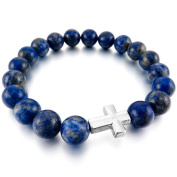 INBLUE Women,Men's 10mm Alloy Energy Bracelet Link Wrist Energy Stone Cross Buddha Mala Bead Elastic