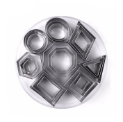 Yosoo 24pcs Geometric Shape Cookie Cutters Set - Stainless Steel Biscuit Chocolate Cutters Set Assorted Shapes Cake Mould, Durable 8 Different Shapes Comes In Container