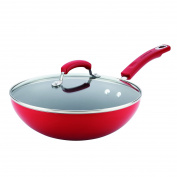 Rachael Ray Aluminium Nonstick Stir Fry Pan with Glass Lid, 28cm , Red