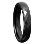 Men's 4mm Tungsten Band Black Diamond Faceted High Polish Finish Ring Wedding Engagement Band TKJ