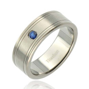 Men's Titanium 8mm Ridged Edge Satin Wedding Engagement Ring TKJ