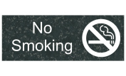 ComplianceSigns Engraved Plastic No Smoking Sign, 20cm X 7.6cm . with English Text and Symbol, White on Charcoal Marble
