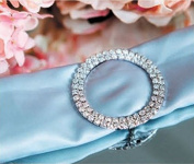 Quasimoon Designer Silver Rhinestone Napkin Ring w/ Clasp - Circle, Bejewelled by PaperLanternStore