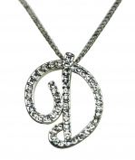 Sequinced Rhinestone Initial Necklace- Cursive D