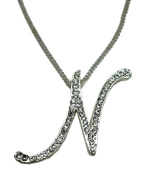Sequinced Rhinestone Initial Necklace- Cursive N