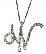 Sequinced Rhinestone Initial Necklace- Cursive W