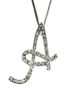Sequinced Rhinestone Initial Necklace- Cursive A