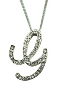 Sequinced Rhinestone Initial Necklace- Cursive G