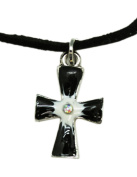 Dull Tone Inlay Cross Necklace