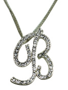 Sequinced Rhinestone Initial Necklace- Cursive B