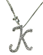 Sequinced Rhinestone Initial Necklace- Cursive K