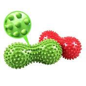 SelfTek Peanut Spiky Massage Ball Roller for Myofascial Release and Deep Tissue Massage Random Colour