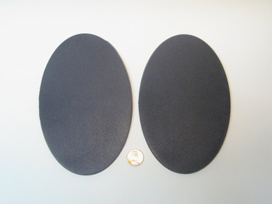 Value Pack of 2 - 170MM x 105MM Giant Oval Black Miniature Model Knight Bases for TableTop or Miniature WarGames