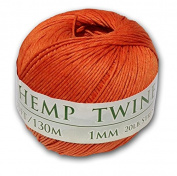 130m of 1mm 100% Hemp Twine Bead Cord in Orange
