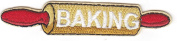 """""""BAKING"""" ROLLING PIN - IRON ON EMBROIDERED PATCH/Cooking, Food, Cake, Cookies"""