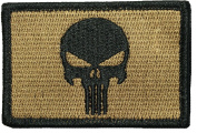 Tactical Morale Operator Punisher Skull Patch 5.1cm x 7.6cm hook and loop Backing - Coyote Tan by Ranger Return