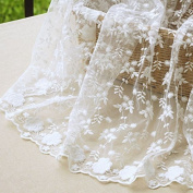 130cm Wide Floral Embroidered Mesh Lace Fabric by the Yard - White