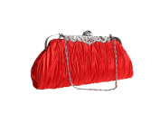 Zakka Republic Vintage Satin Pleated Evening Cocktail Wedding Handbag Clutch w/ Shoulder Chain