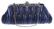 Zakka Republic Vintage Satin Pleated Evening Cocktail Wedding Handbag Clutch w/ Shoulder Chain