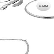 Sterling Silver Italian Solid Flat Omega Chain 6MM Luxurious Nickel Free Necklace with Lobster Claw Clasp Closure