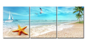 Canvas Print Wall Art Painting For Home Decor Seascape Of Sandy Beach With Palm Trees Golden Starfish Sea Sailing Boat In Blue Sea 3 Pieces Panel Living Room Decoration Pictures Photo Prints On Canvas