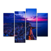 Canvas Print Wall Art Painting For Home Decor Chicago Skyline Blue Sky In Sunset Cloud Downtown Aerial View At Dusk With Skyscrapers And City Skyline At Michigan Lakefront 4 Pieces Panel Paintings Modern Giclee Stretched And Framed Artwork The Picture ..